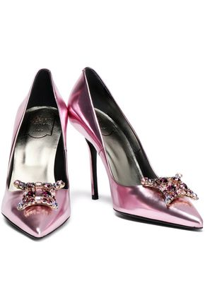 ROGER VIVIER Crystal-embellished metallic leather pumps