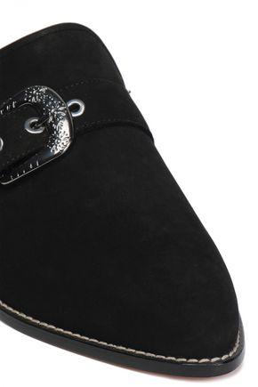 STUART WEITZMAN Buckled suede slippers