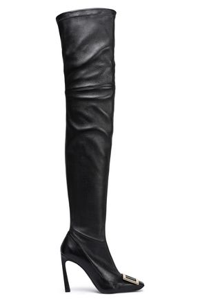 ROGER VIVIER Cuissard embellished leather thigh boots