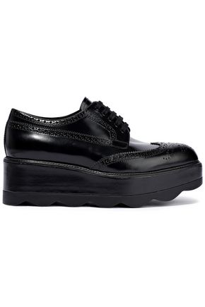 PRADA Glossed-leather platform brogues
