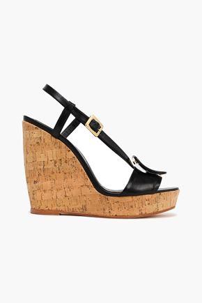 ROGER VIVIER Buckle-embellished leather wedge sandals