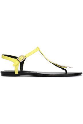 ROGER VIVIER Floral appliquéd patent-leather sandals