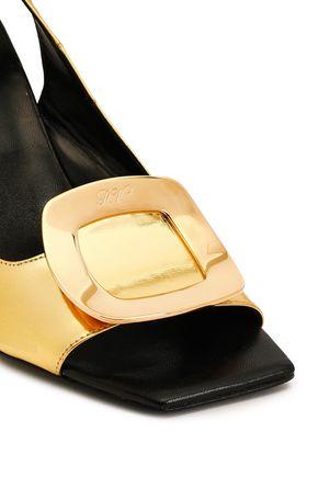 ROGER VIVIER Metallic leather wedge slingback sandals