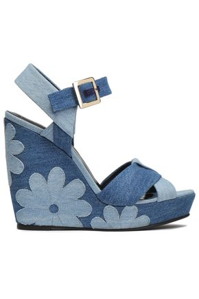 ROGER VIVIER Floral-appliquéd denim wedge sandals