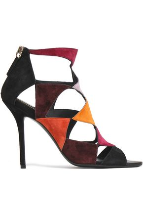 ROGER VIVIER Cutout color-block suede sandals