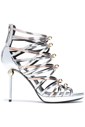ROGER VIVIER | Roger Vivier Studded Metallic Leather Sandals | Goxip