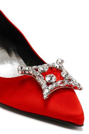 ROGER VIVIER Crystal-embellished satin pumps