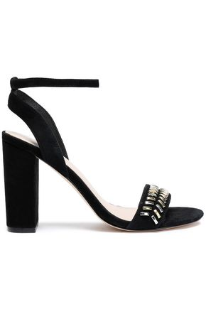SANDRO Embellished suede sandals