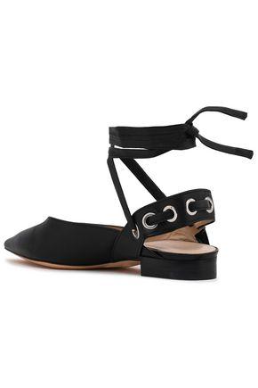 SANDRO Eyelet-embellished leather point-toe flats