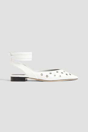 SANDRO Eyelet-embellished leather point-toe flats