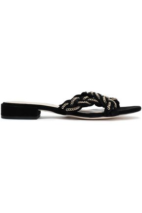 SANDRO Chain-embellished braided slides