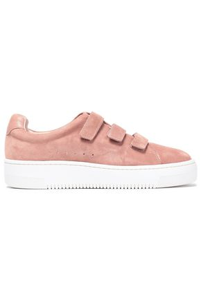 SANDRO Leather-trimmed suede sneakers