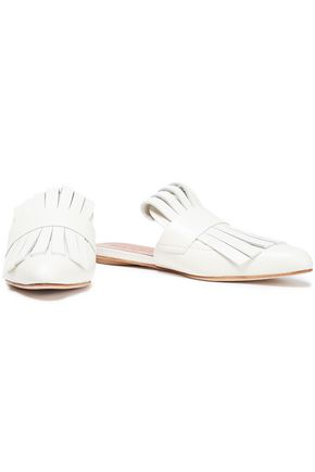 MARNI Fringed glossed-leather slippers