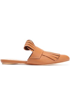 MARNI Fringed leather slippers