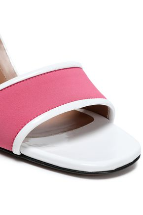 MARNI Patent leather-trimmed stretch-knit sandals