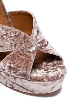CHLOÉ Crushed-velvet platform sandals