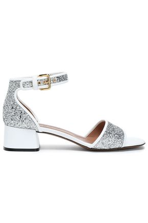 MARNI Patent leather-trimmed glittered leather sandals