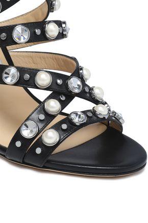 JIMMY CHOO Embellished leather sandals