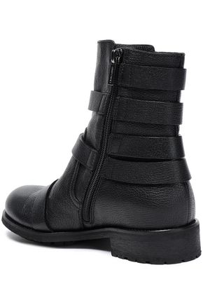 JIMMY CHOO Buckled textured-leather ankle boots