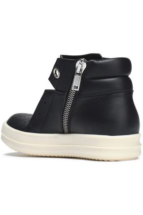 RICK OWENS Perforated leather high-top sneakers