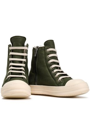 RICK OWENS Shearling-lined suede high-top sneakers
