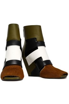 RICK OWENS Color-block calf hair and leather wedge ankle boots