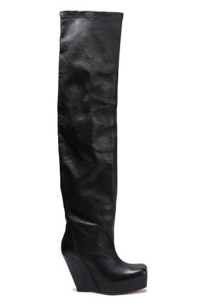 RICK OWENS Paneled smooth and textured-leather platform thigh boots
