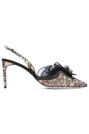 RENE' CAOVILLA Ruffled embellished lace slingback pumps