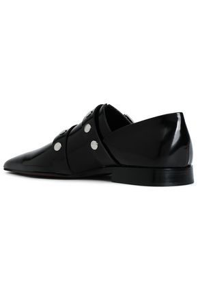 VICTORIA BECKHAM Studded glossed-leather point-toe flats