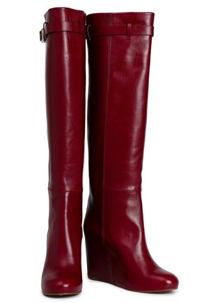 VICTORIA BECKHAM Buckled leather wedge knee boots