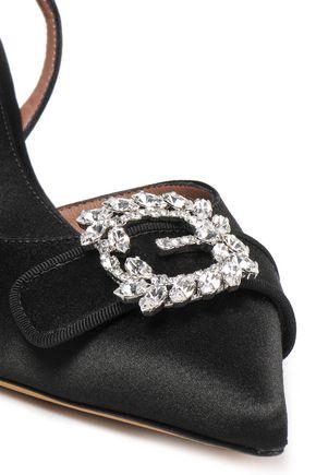 TABITHA SIMMONS Crystal-embellished satin slingback pumps