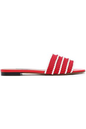 TABITHA SIMMONS Pleated striped grosgrain slides