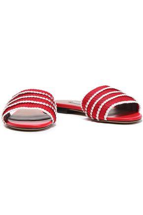TABITHA SIMMONS Pleated striped grosgrain slides