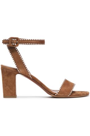 TABITHA SIMMONS Leather-trimmed suede sandals