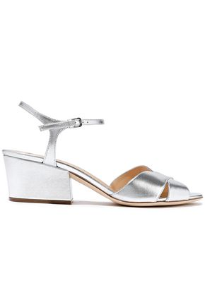 SERGIO ROSSI Metallic leather sandals