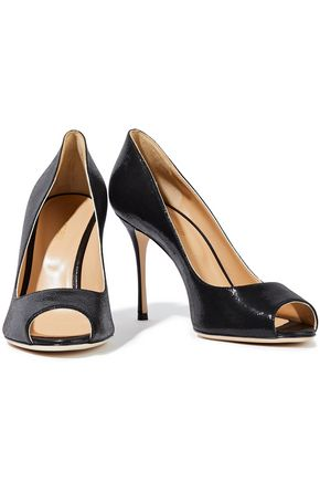 SERGIO ROSSI Textured patent-leather pumps