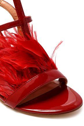 HALSTON HERITAGE Tasha feather-embellished patent-leather sandals