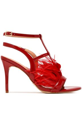 HALSTON HERITAGE Tasha feather-embellished patent-leather sandals