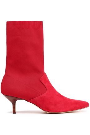 HALSTON HERITAGE Annalise suede and stretch-knit sock boots