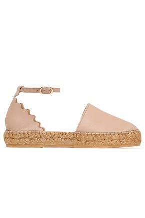 IRIS & INK Scalloped leather espadrilles