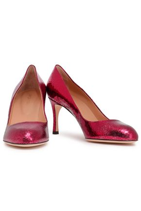 SERGIO ROSSI Metallic cracked-leather pumps
