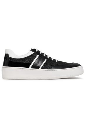 SERGIO ROSSI Patent-trimmed leather sneakers