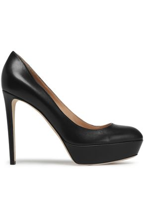 SERGIO ROSSI Leather platform pumps
