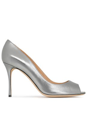 SERGIO ROSSI Metallic leather pumps