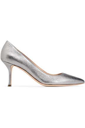 SERGIO ROSSI Metallic pebbled-leather pumps