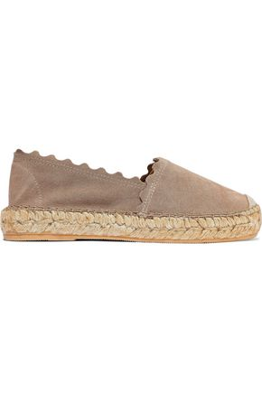 IRIS & INK Hester scalloped suede espadrilles