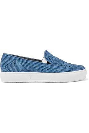 ROBERT CLERGERIE Raffia slip-on sneakers