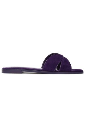 SANDRO Cutout leather-trimmed suede slides