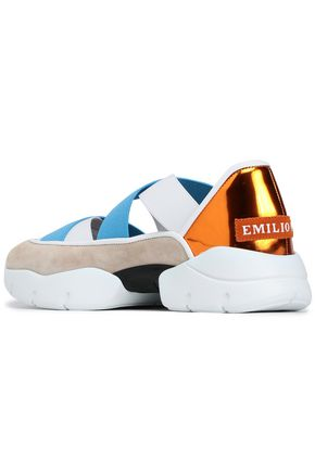 EMILIO PUCCI Stretch-knit and suede-paneled sneakers
