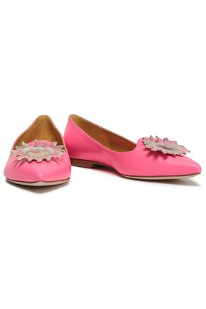 EMILIO PUCCI Embellished leather point-toe flats